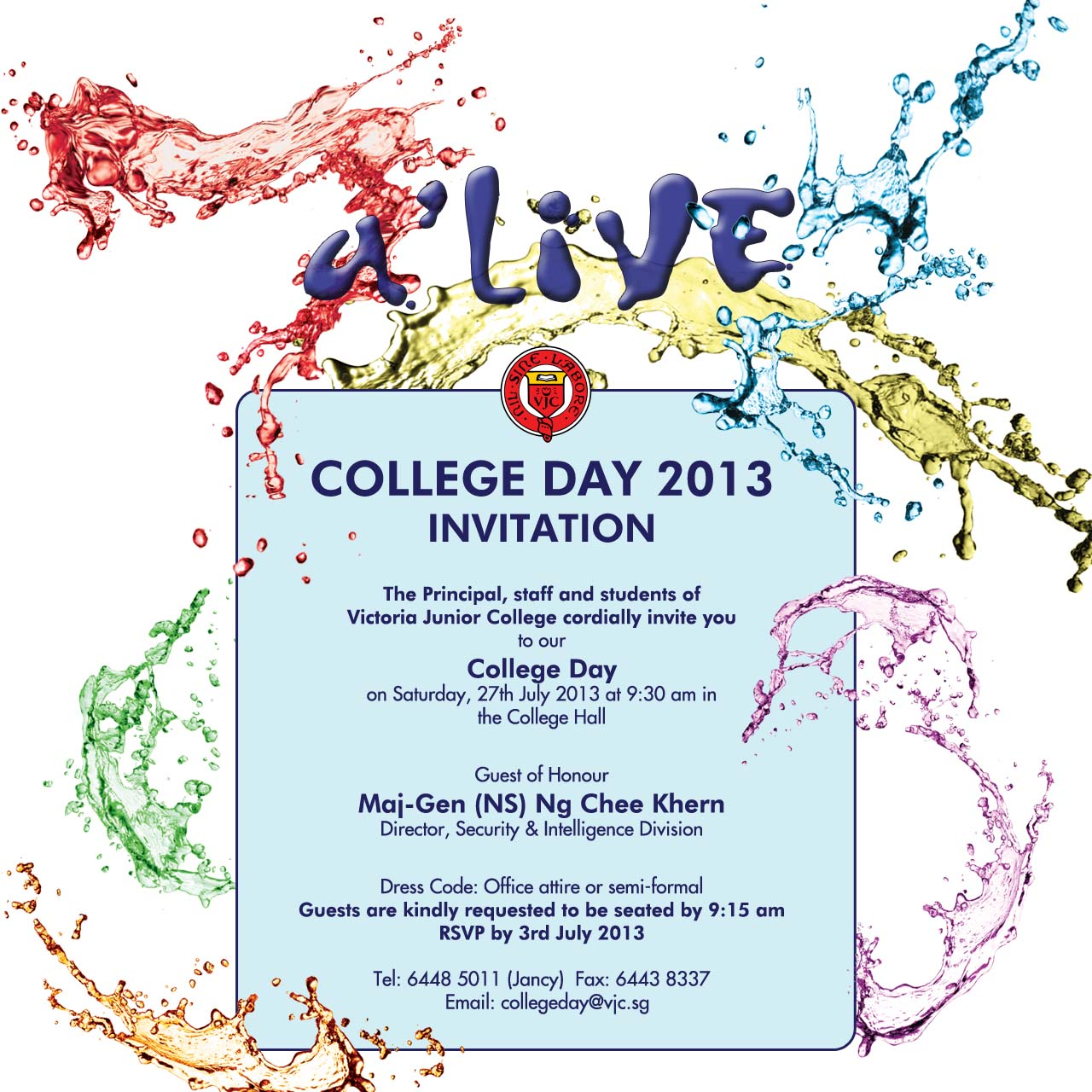 Invitation To Vjc College Day 2013 Old Victorians Association